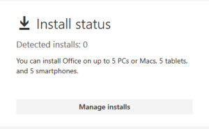 Office 365 manage installs