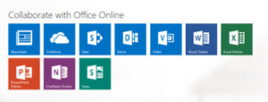Office 365 online menu
