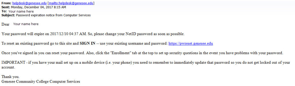 Password Expiration notice